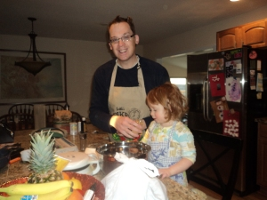 My Bro-in-law and niece making waffles on a Sunday morning