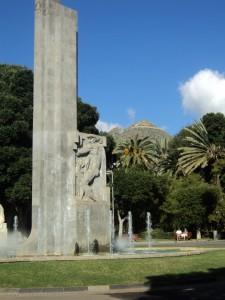 A statue in the center of the capital, Santa Cruz.