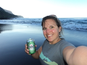 Hanging out with a much needed beer on the black sands beach located on the NW coast of the island.